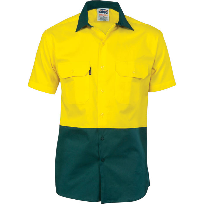 DNC 3831 HiVis Two Tone Cotton Drill Shirt - Short Sleeve