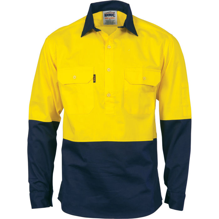 DNC 3834 HiVis Two Tone Close Front Cotton Drill Shirt - Long Sleeve 1