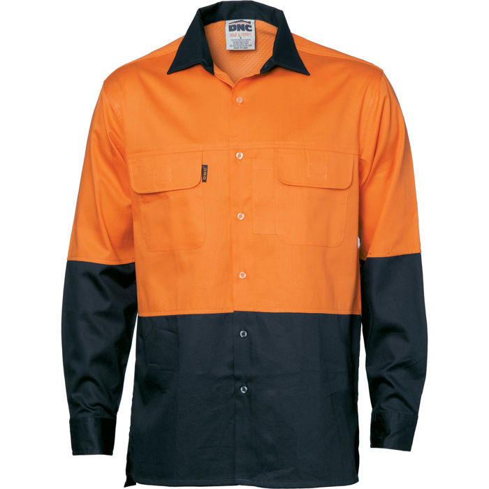 DNC 3938 HiVis 3 Way Cool-Breeze Cotton Shirt - Long Sleeve 1
