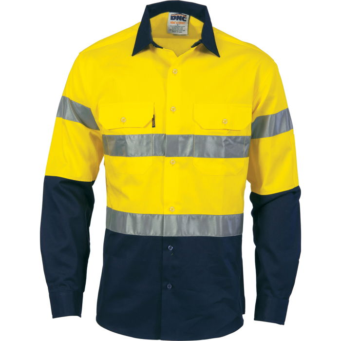 DNC 3966 HiVis Cool-Breeze Cotton Shirt with Generic R/Tape - Long Sleeve 1
