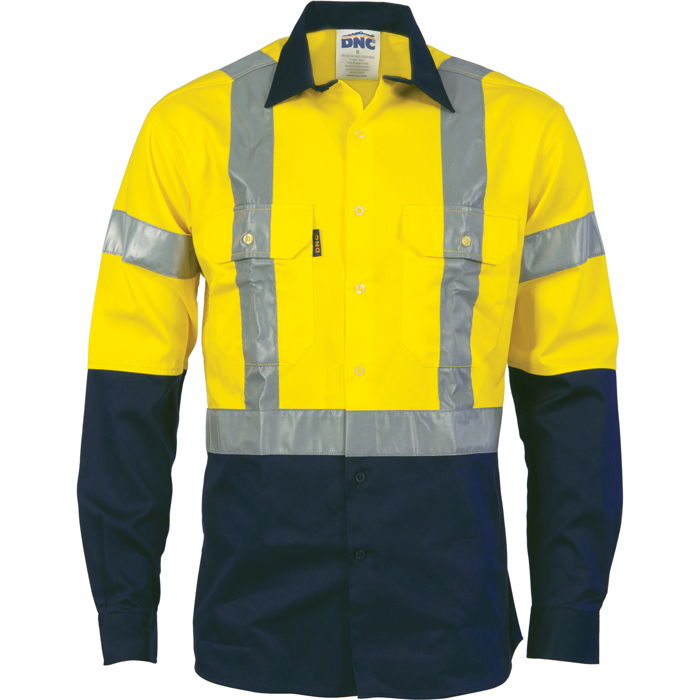 DNC 3983 HiVis D/N 2 Tone Drill Shirt with H Pattern Generic R/ Tape - Long Sleeve 1
