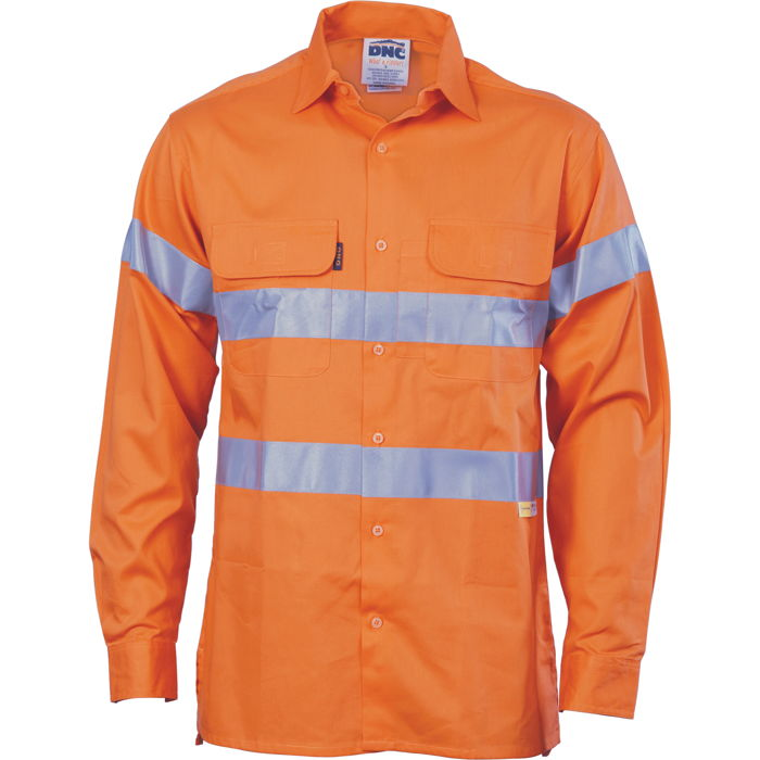 DNC 3987 HiVis Cool-Breeze Cotton Shirt with 3M 8906 R/Tape - Long Sleeve 1
