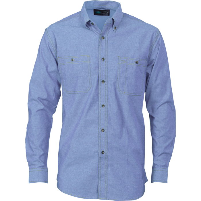 DNC 4102 Cotton Chambray Shirt , Twin Pocket - Long Sleeve