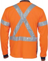 DNC 3914 Hivis D/N Cool Breathe Polo Shirt With Cross Back R/Tape - Long Sleeve 2
