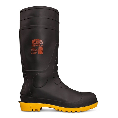 Kings Gumboots: 10-100 Black Safety Gumboot