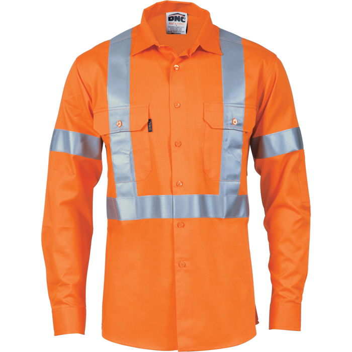 DNC 3746 HiVis Cool-Breeze Cotton Shirt with 'X' Back & Additional 3m r/Tape on Tail - L/S 1