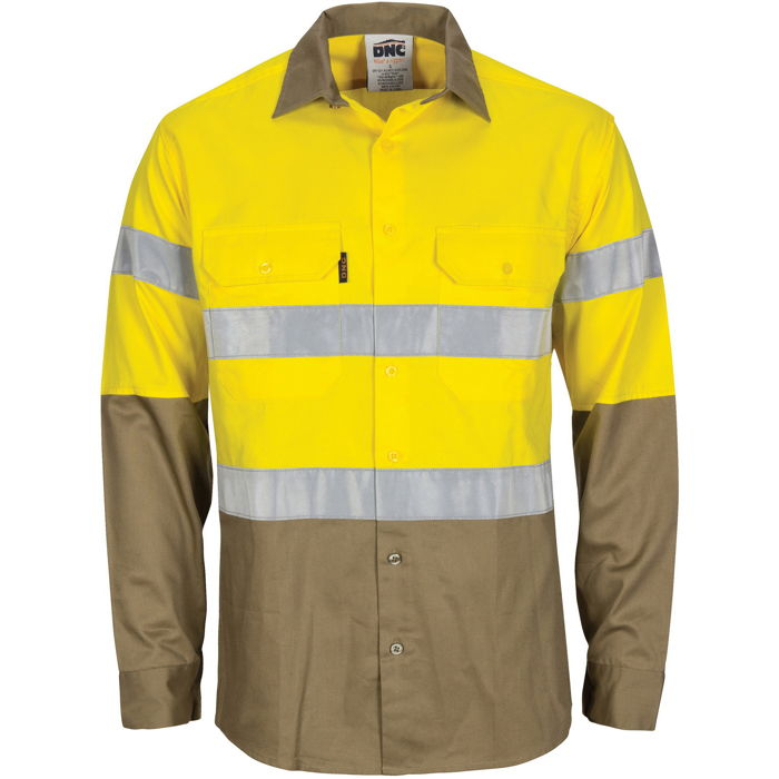 DNC 3784 HiVis L/W Cool-Breeze T2 Vertical Vented Cotton Shirt with Gusset Sleeves. Generic Tape - Long Sleeve 1