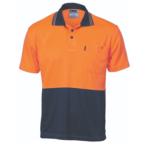 HiVis Two Tone Cool Breathe Polo Shirt - Short Sleeve