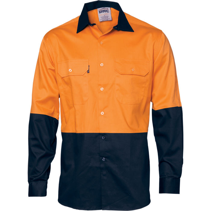 DNC 3832 HiVis Two Tone Cotton Drill Shirt - Long Sleeve