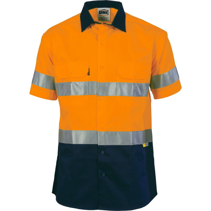 DNC 3833 HiVis Two Tone Drill Shirt with 3M 8906 R/Tape - Short Sleeve
