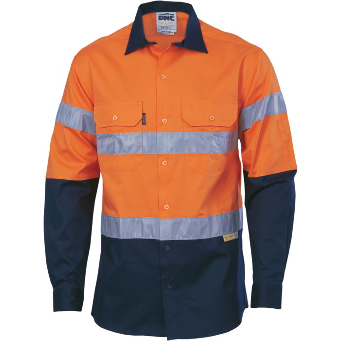 DNC 3886 HiVis Cool-Breeze Cotton Shirt with 3M 8910 R/Tape - Long Sleeve 1