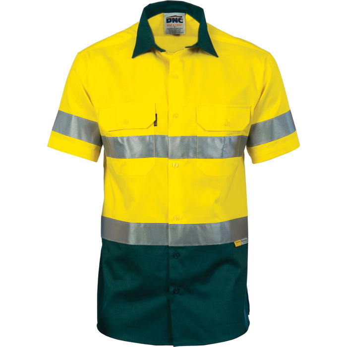 DNC 3887 HiVis Cool-Breeze Cotton Shirt with 3M 8906 R/Tape - Short Sleeve 1