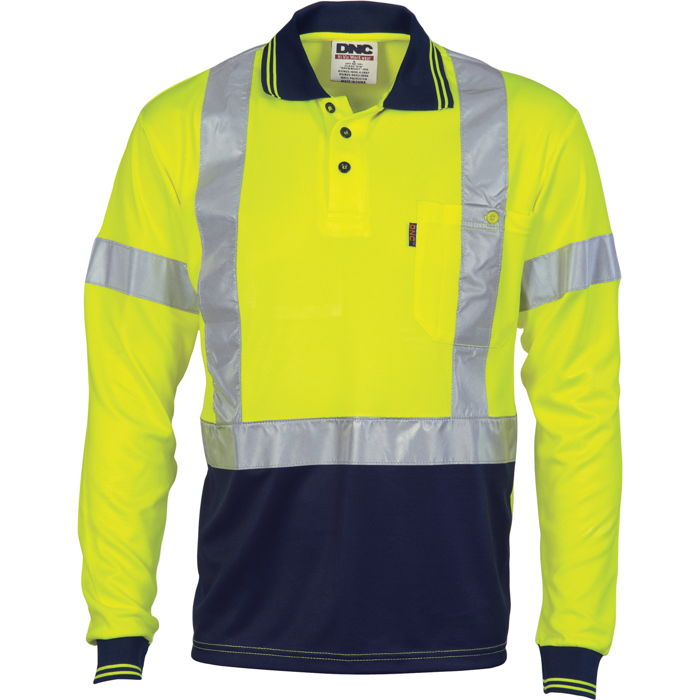 DNC 3914 Hivis D/N Cool Breathe Polo Shirt With Cross Back R/Tape - Long Sleeve 1