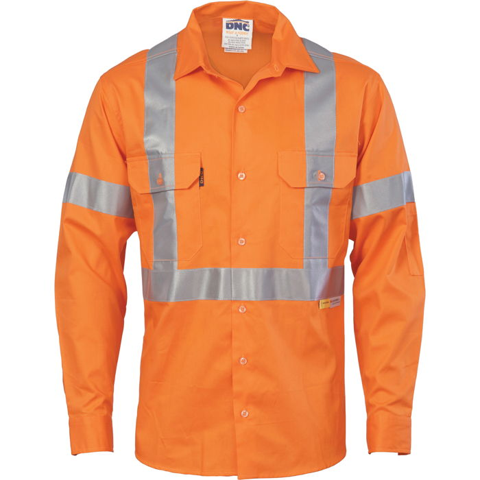 DNC 3946 HiVis Cool-Breeze Cross Back Cotton Shirt with 3M R/Tape - Long Sleeve 1