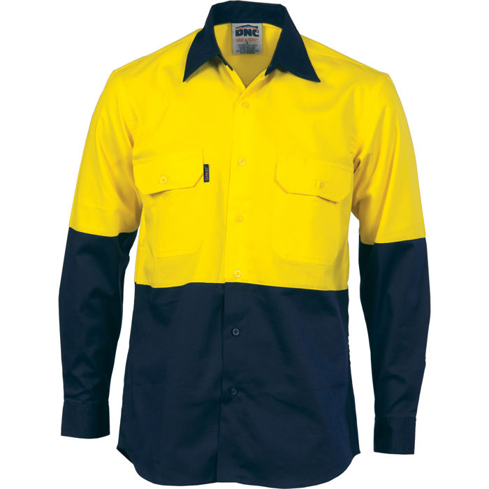 DNC 3981 HiVis Two Tone Cotton Drill Vented Shirt - Long Sleeve 1