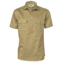 Cotton Drill Close Front Work Shirt