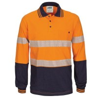 HIVIS Segment Tape Cotton Jersey Polo- Long Sleeve