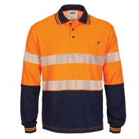 HIVIS Segment Taped Cotton Backed Polo- Long Sleeve