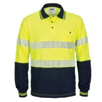 DNC 3518 HIVIS Segment Taped Cotton Backed Polo - Long Sleeve