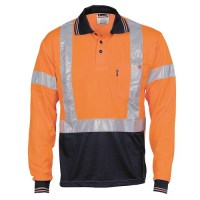 Hi Vis Day / Night Polo with Cross Back R/Tape- Long Sleeve