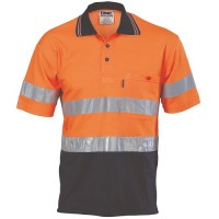 DNC 3718 Hi Vis Two Tone Cotton Back Polos - Long Sleeve