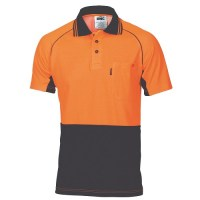 HiVis Cotton Backed Cool-Breeze Contrast Polo- S/S