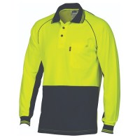 HiVis Cotton Backed Cool-Breeze Contrast Polo- L/S
