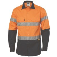 DNC 3736 HiVis Two Tone Drill Shirts with 3M8906 R/Tape - Long Sleeve