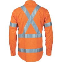 DNC 3746 HiVis Cool-Breeze Cotton Shirt with 'X' Back & Additional 3m r/Tape on Tail - L/S 2