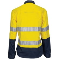 DNC 3749 Ladies HiVis 3 Way Cool-Breeze Cotton Shirt with Gusset Sleeve, 3M R/Tape - Long Sleeve