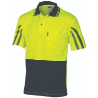 HiVis Cool-Breathe Printed Stripe Polo- Short Sleeve