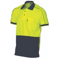 HiVis Cool-Breathe Double Piping Polo- Short Sleeve