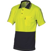 HiVis Cool-Breathe Stripe Polo- Short Sleeve