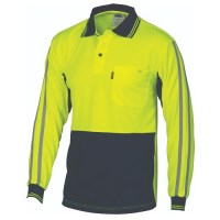 HiVis Cool-Breathe Stripe Polo - Long Sleeve