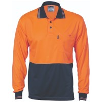 HiVis Two Tone Cool Breathe Polo Shirt- Long Sleevee