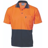 Cotton Back HiVis Two Tone Fluoro Polo- Short Sleeve