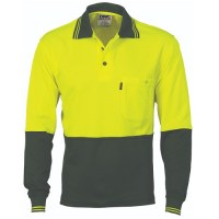 Cotton Back HiVis Two Tone Fluoro Polo- Long Sleeve