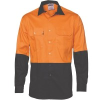 HiVis Two Tone Cotton Drill Shirt- Long Sleeve