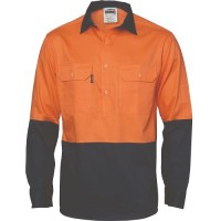 Hi Vis Two Tone Close Front Cotton Drill Shirt