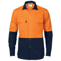 Hi Vis Two Tone Drill Shirt with Press Studs