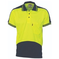 Hi Vis Polo Work Shirt- Short Sleeve- Cool Breathe Panel