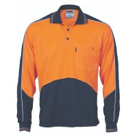 Hi Vis Polo Work Shirt- Long Sleeve- Cool Breathe Panel