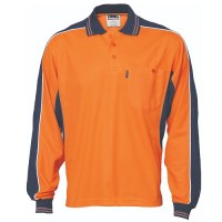 Work Polo- Long Sleeve- Poly/Cotton Contrast Panel