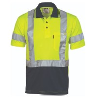 Hi Vis Day / Night  Polo Shirt with Cross Back R/Tape- Short Sleeve