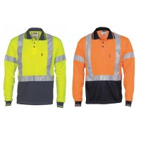 Hi Vis Day / Night Polo Shirt with Cross Back R/Tape- Long Sleeve