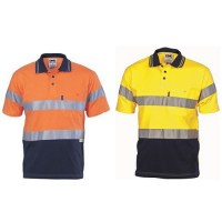 DNC 3915 Hivis Hivis Cool-Breeze Cotton Jersey Polo With 3M R/Tape - Short Sleeve