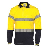 Hivis Jersey Polo With 3M R/Tape - Long Sleeve
