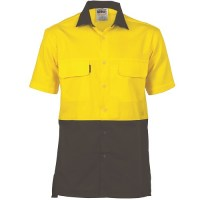 Hi Vis 3 Way Cool-Breeze Cotton Shirt- Short Sleeve