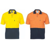 DNC 3943 HiVis Cool-Breeze 2 Tone Cotton Jersey Polo Shirt with Twin Chest Pocket - S/S 1