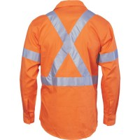 DNC 3946 HiVis Cool-Breeze Cross Back Cotton Shirt with 3M R/Tape - Long Sleeve 2
